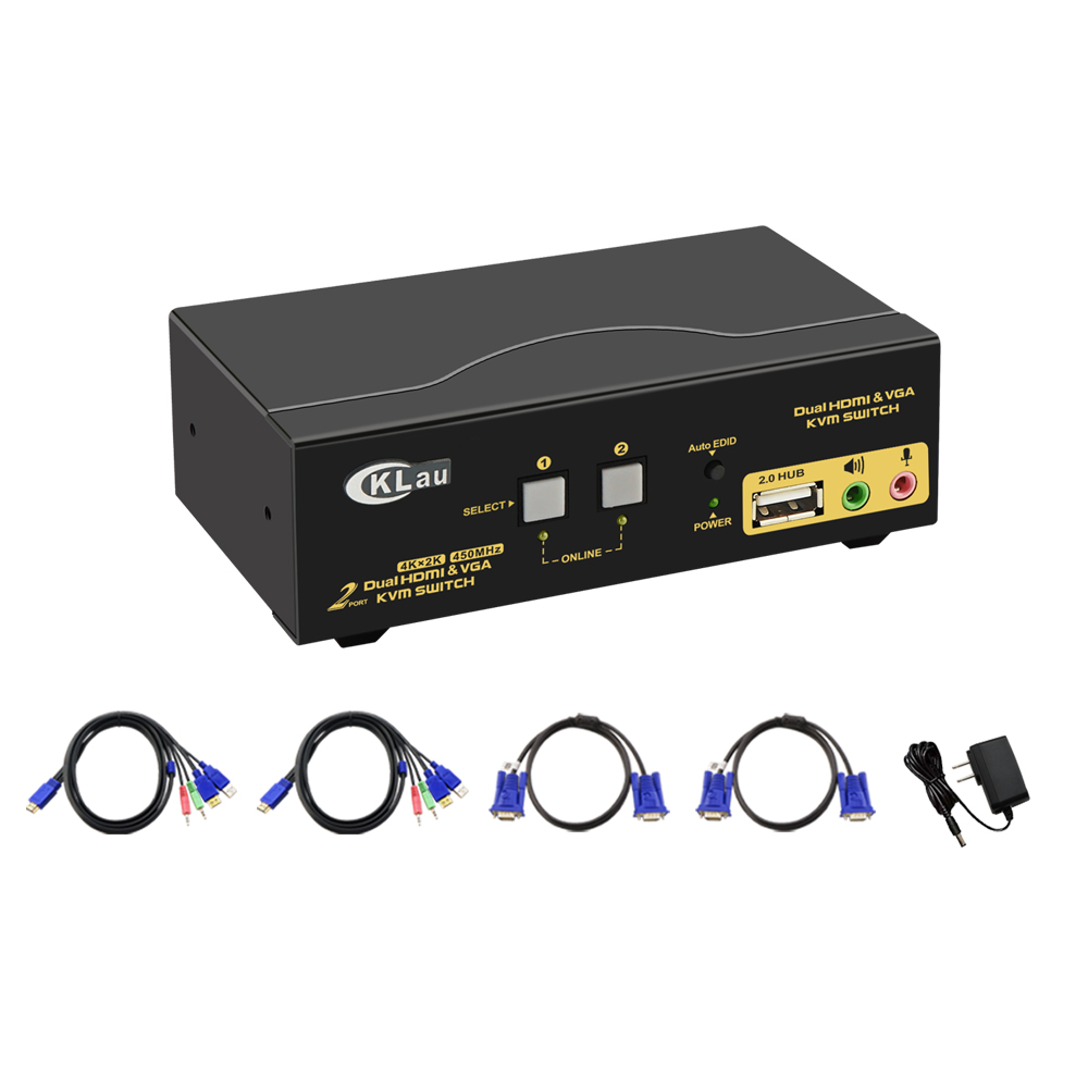2 Port Dual Monitor  KVM Switch,  Extended Display, CKL  KVM Switch HDMI VGA Dual Monitor, With Audio , Support 4K@30Hz,