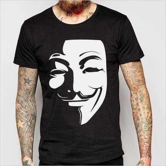 V for Vendetta T Shirt Anonymous Guy Fawkes Mask Men 100 Cotton T Shirts O Neck