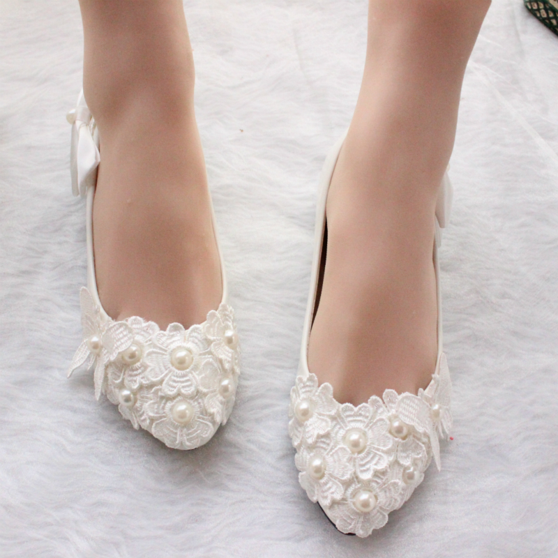 3CM 4.5CM 8.5CM 11CM heel 2018 the women s wedding shoes white lace pearl  female wedding pumps bride bridal party shoes-in Women s Pumps from Shoes on  ... 3e7c093ffef3
