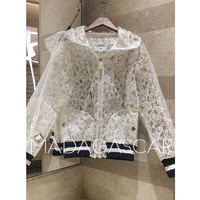 Fashion 2018 Autumn T station brand transparent embroidery hoodie women casual jacket