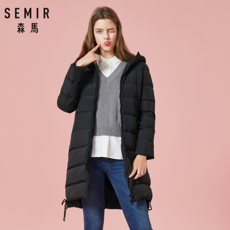 SEMIR Women Quilted Long   Down   Hooded   Coat   with Zip   Down   Filling Puffer   Coat   with Zip Pocket Pompom at Hood Drawstring at Hem