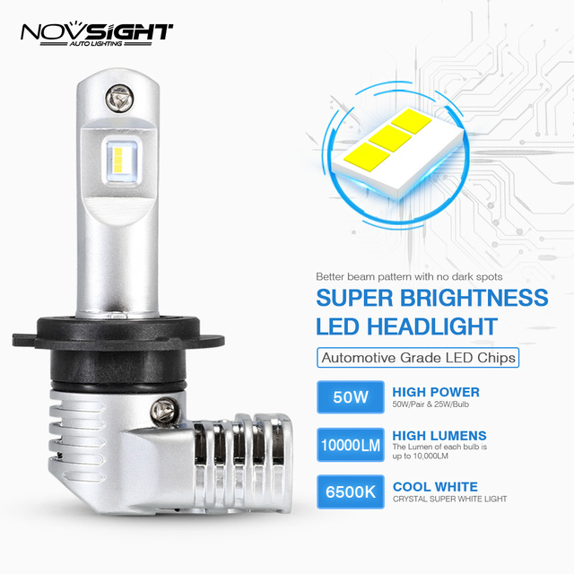 1:1 DESIGN NOVSIGHT H7 Led H4 Car Headlight Bulbs H11 H16JP 9005 9006 9012 P13 PSX24W PSX26W 50W 10000LM 6500K Auto Headlamp