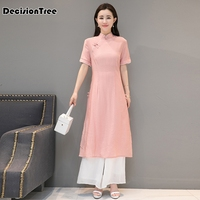 2019 summer short aodai vietnam dress for women traditional clothing ao dai dress oriental dress chinese cheong set aodai