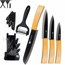 Six Pcs Set XYj Kitchen Knife Bamboo Handle Black Blade  3″ 4″ 5″ Ceramic knife 6″ Serrated Bread Knife + Peeler + Knife Stand