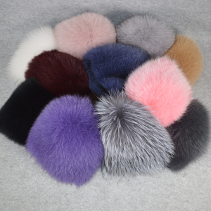 Image 5 - Luxury 100% Natural Real Fox Fur Hat Women Winter Elastic Knitted Real Fox Fur Bomber Cap Girls Warm Soft Fox Fur Beanies Hats