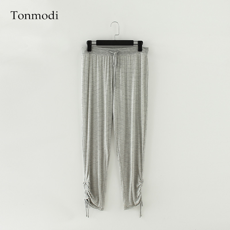 Woman's Long Pants Summer Modal pants stripe Women Lounge Sleep Bottoms trousers Women
