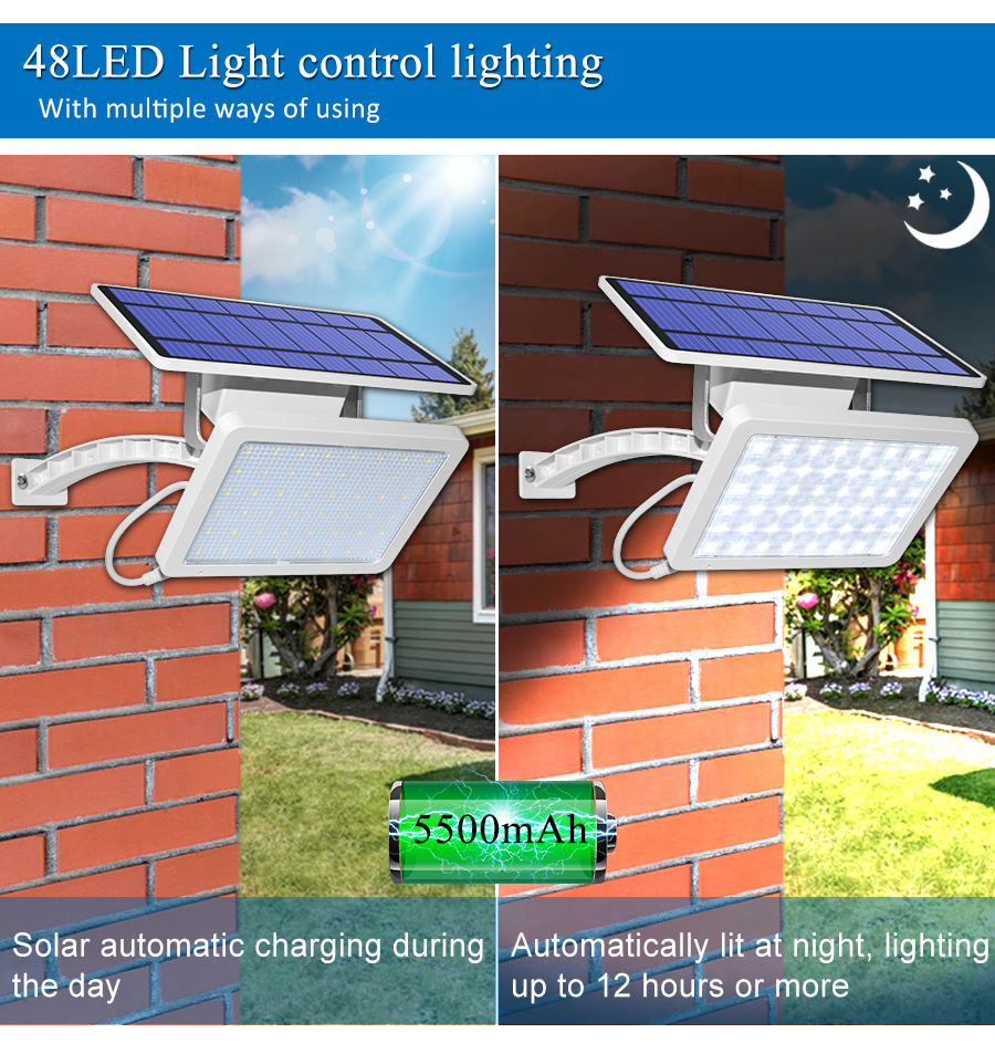 800lm Solar Outdoor Light for with 48 LED With Adjustable Lighting Angle for Garden and Yard Security 12