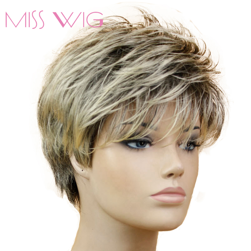 MISS WIG Black Mixed Blonde Straight Wig Short Pixie HairCut Style Wigs For Women Synthetic Hair High Temperature Fiber