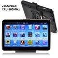 Hotsale 5 polegada tela de toque Carro Navegador GPS HD800 * 480 CPU800M 256 M/8 GB + FM Transmitter + free mapas mais recentes