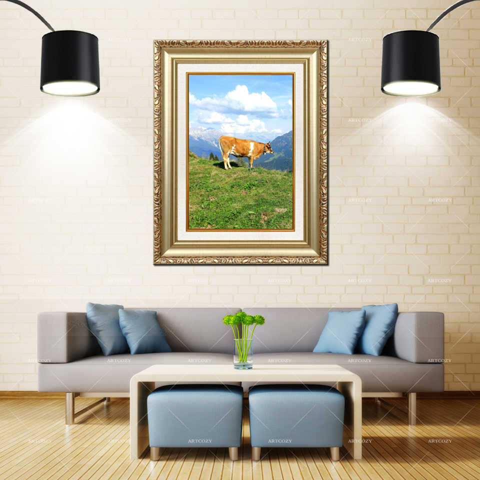 Artcozy Golden Frame Abstractdairy cow Waterproof Canvas Painting