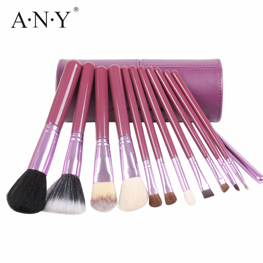 ANY 12PCS Professional Makeup Brush Set Foundation Eyeliner Brush Kits Purple Wooden Handle With Leather Cup Holder free shipping 3 pp eyeliner liquid empty pipe pointed thin liquid eyeliner colour makeup tools lfrosted purple
