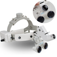 Dental Binocular Loupes Glasses Head Band Magnifier with LED Light 3.5X 420 Optical
