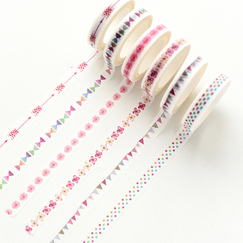DIY Kawaii Thin Washi Tape Masking Tape Stickers Scrapbooking Decorative Adhesive Tape For Office School Tools Stationery jianwu 15mmx7m creative fresh time washi tape shaft week plan and notebook diy decorative paper tape stickers office stationery
