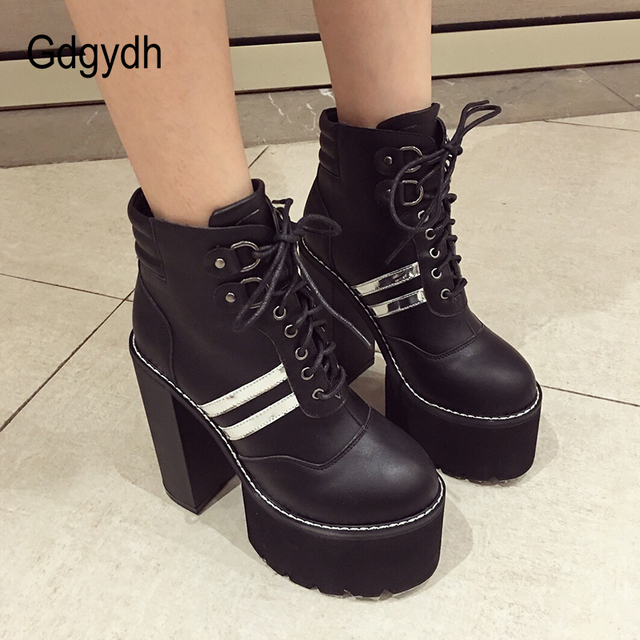Gdgydh Bağlama PU Deri yarım çizmeler Bayanlar için Ayakkabı Parti Platformu Topuklu Kadın kısa çizmeler 2019 Sonbahar Topuk 15 cm kadın ayakkabısı