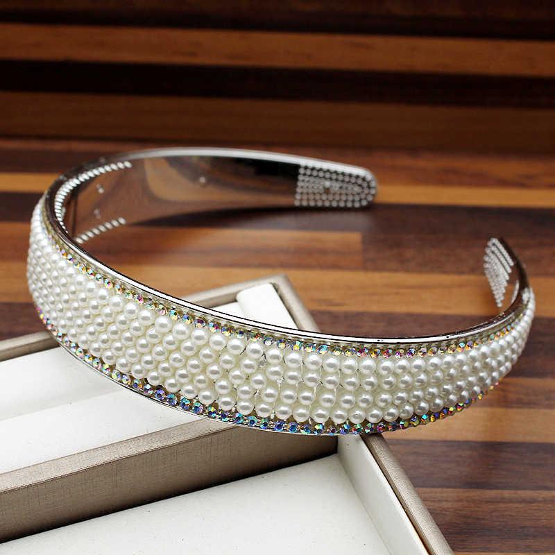 25mm largeur corée mode complet perle bandeau AB cristal et strass bandeau pour femmes cheveux accessoires bijoux