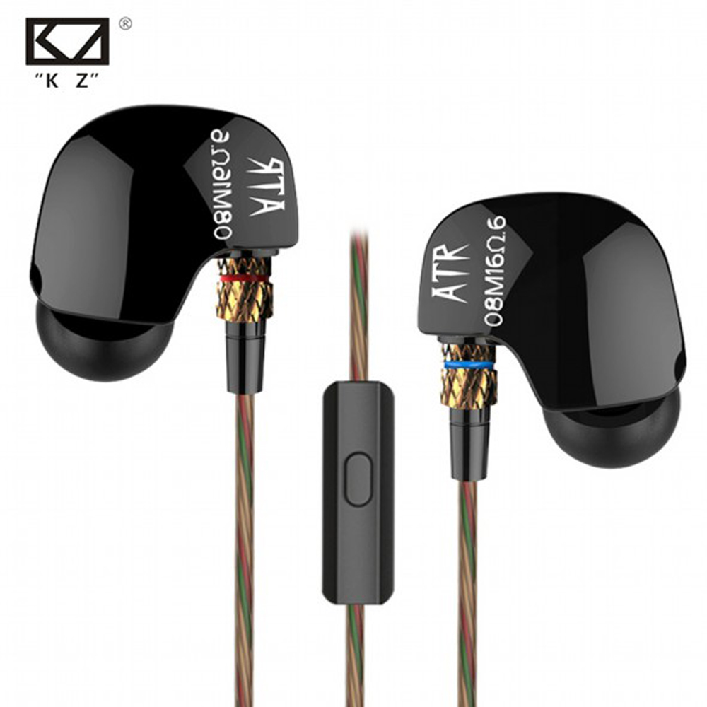 2016 Newest Original KZ ATR 3.5mm In Ear Earphones HIFI Stereo Sport Earphone Super Bass Noise Isolating With Mic Free Shipping kz ates ate atr hd9 copper driver hifi sport headphones in ear earphone for running with microphone game headset
