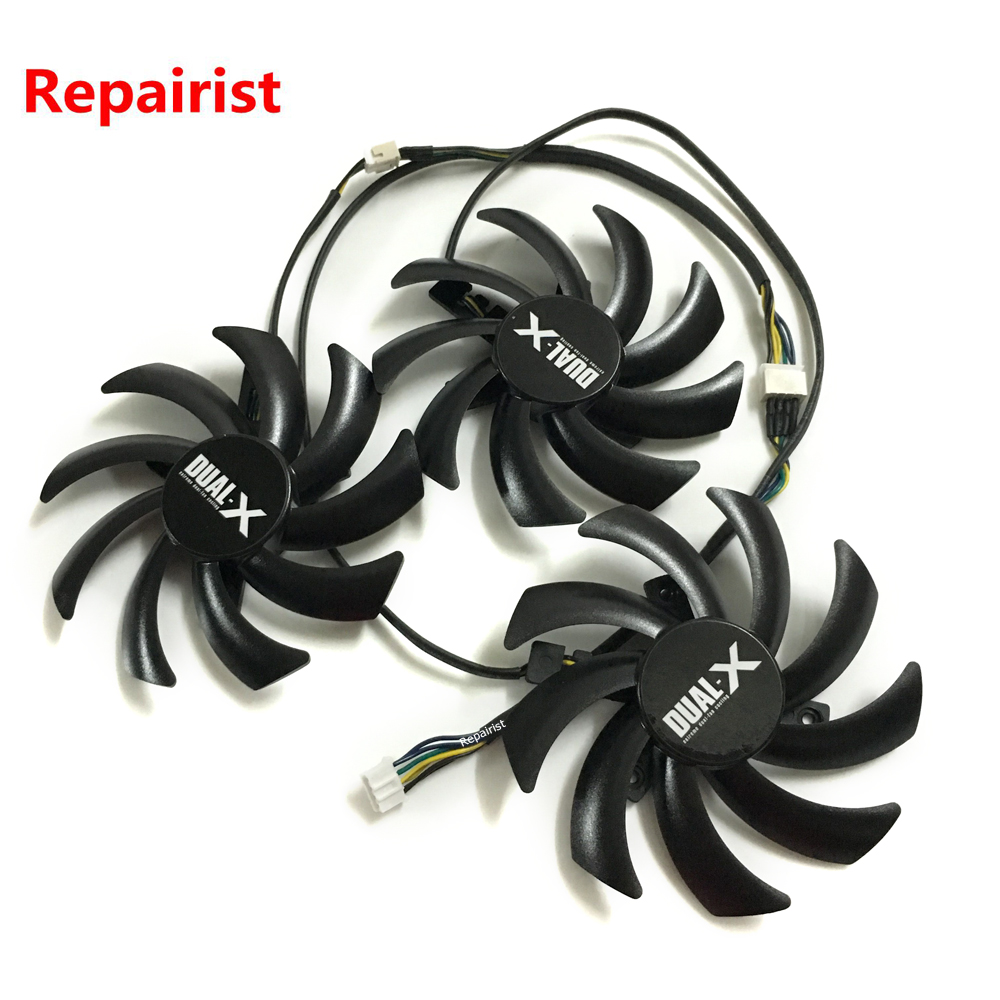 3Pcs/Lot graphics Card Fan VGA Cooler Fans for Sapphire R9 290 Tri-X OC Video card cooling