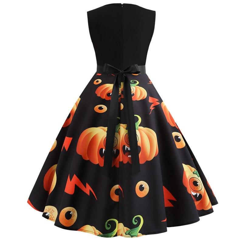 Halloween Vintage Dress Women Pumpkin Print Patchwork Midi Autumn Winter Dresses Long Sleeve Elegant Party Dress Plus Size 6
