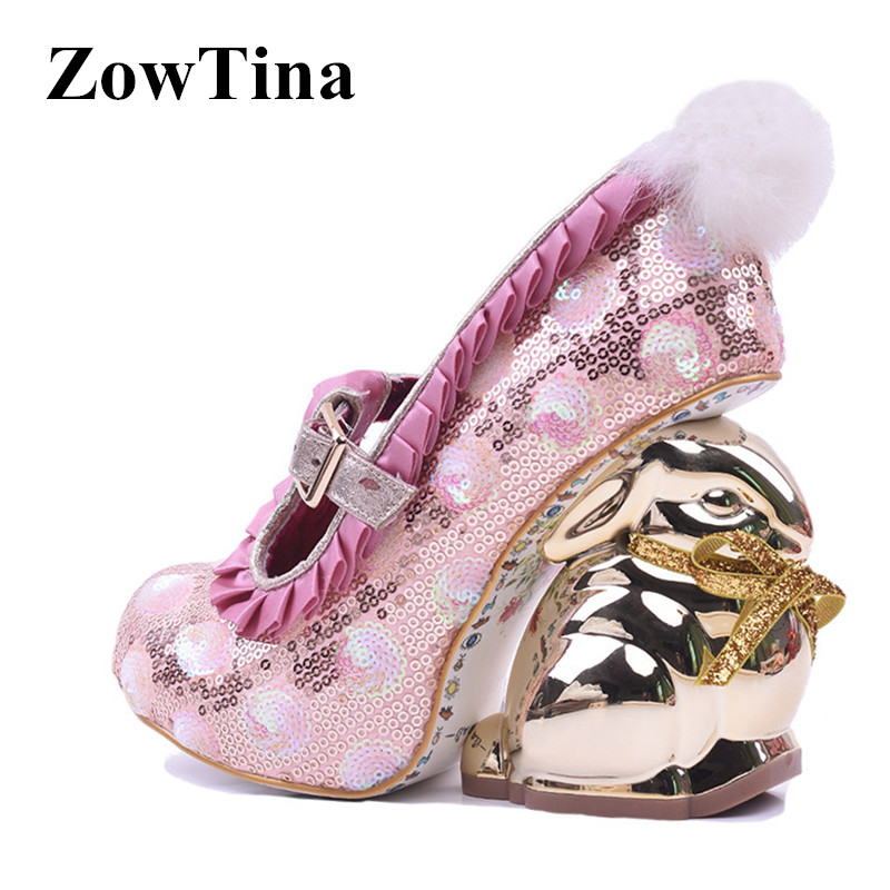 Women Pink Sequin Wedge Pumps Gladiator Rabbit Heels Wedding Shoes Woman With Fur Ball Fashion Design Party High Heels Stiletto