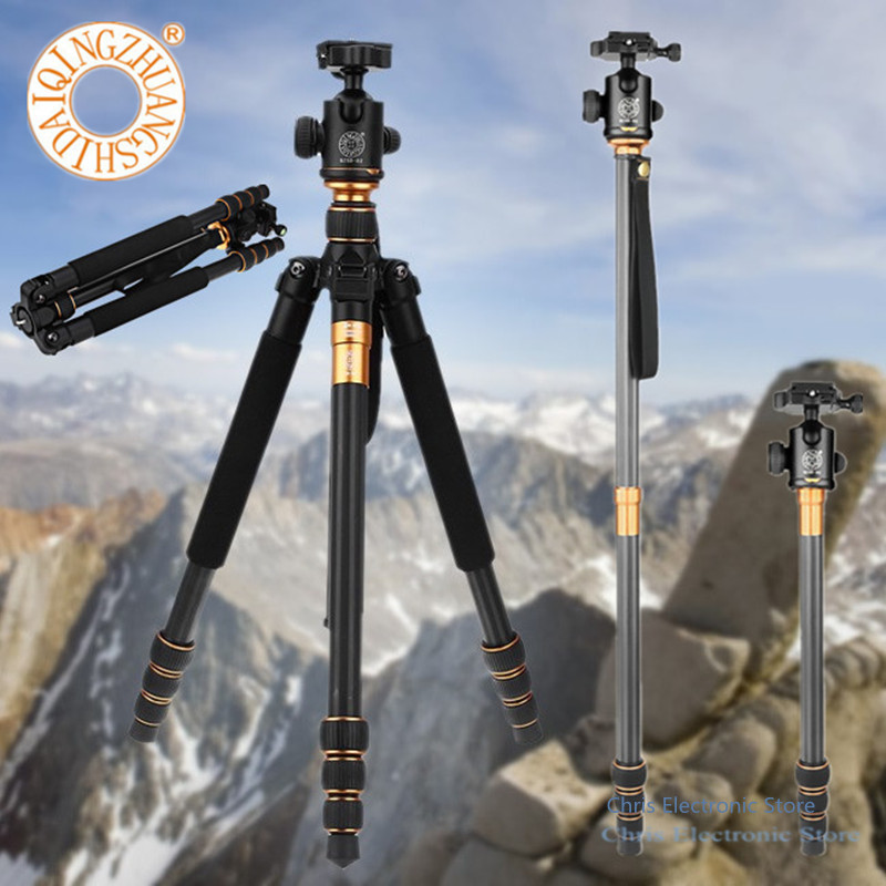 Hot QZSD Q999C 4 sections Professional Photographic Portable Carbon Fiber Tripod Kit Monopod Stand Ball head For DSLR Camera super elegant women ankle boots pointed toe square heels boots high quality black yellow gray shoes woman us size 4 10 5