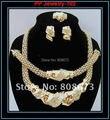 100% de alta qualidade! 24 K ouro cheias de colar brinco pulseira anel africano moda conjuntos de jóias