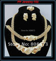 100% garantía de calidad superior! 24 K Gold Filled Popular collar pendiente pulsera anillo de moda africana mujeres grandes sistemas de la joyería
