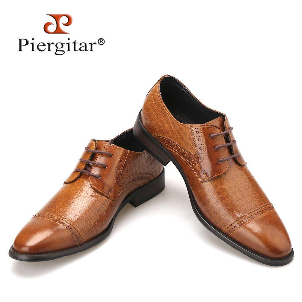 cd1d22be41e Zapatos de cuero genuino marrón para hombre 2018 estilo italiano Zapatos de  vestir de zapatos casuales