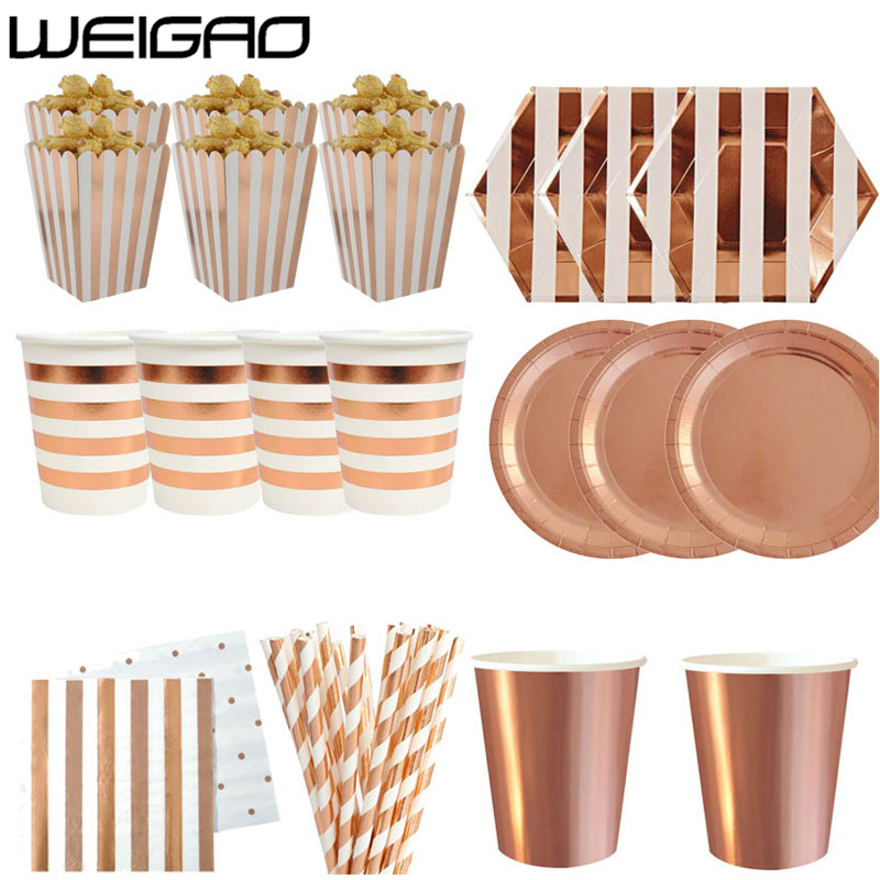 WEIGAO Rose Gold Paper Disposable Tableware Set Straws Napkins Plates Birthday Party Decoration kids Supplies Weeding Decoration