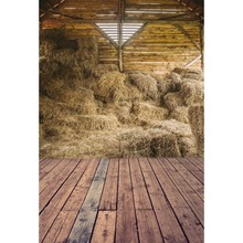 Laeacco Wooden Boards Haystack House Custom Baby Portrait Scenic Photographic Backgrounds Photography Backdrops For Photo Studio