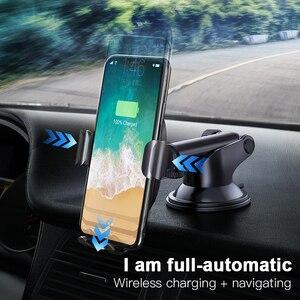 Image 2 - Baseus Qi Draadloze Oplader Autohouder Voor Iphone X 8 Samsung S9 Zuig Wireless Opladen Snellader Auto Mount Telefoon houder