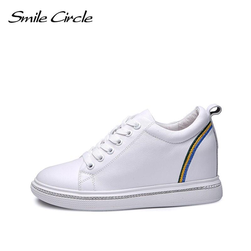 Glimlach Cirkel Wiggen Sneakers Vrouwen Echt Lederen Platform Schoenen Voor Vrouwen 2018 Herfst Lace up Casual Schoenen 6 cm hoogte verhogen-in Sneakers voor vrouwen van Schoenen op  Groep 3