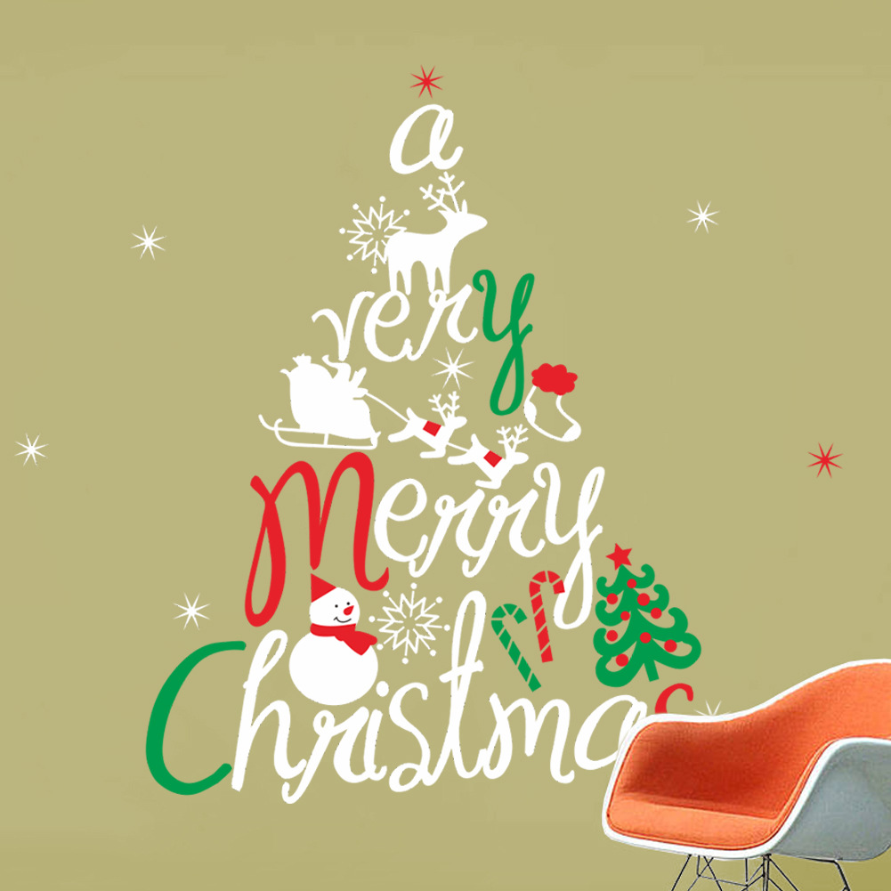 Merry Christmas The Colorful Christmas Tree Removable Wall Stickers ...