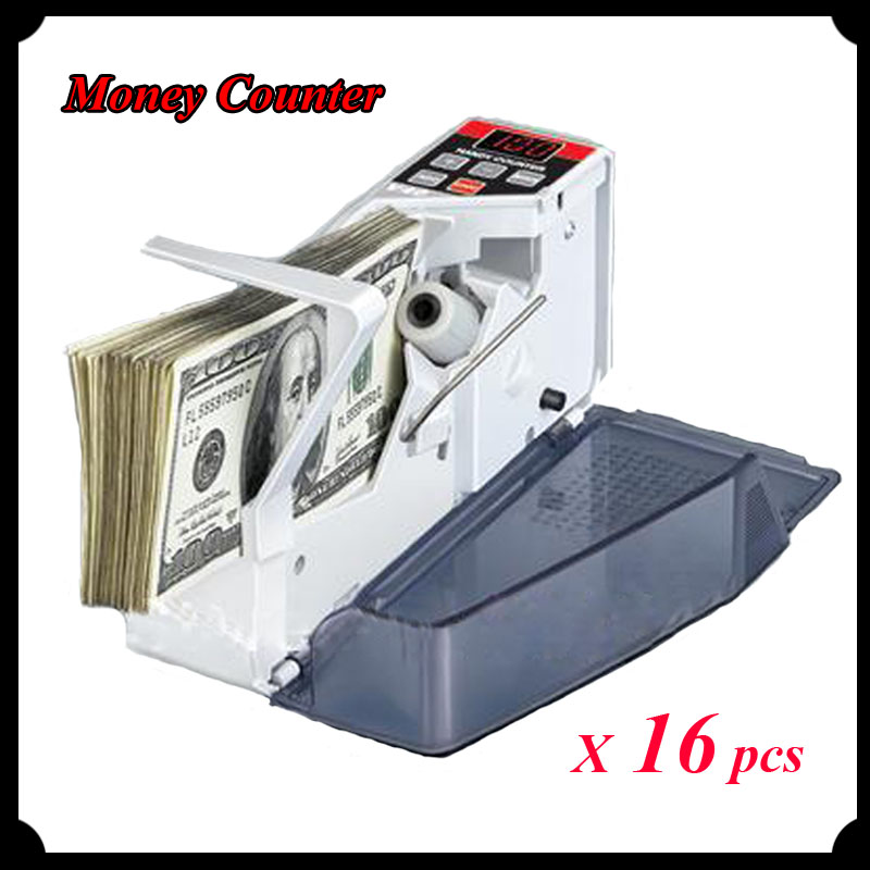 16pcs/lot 2016 New Mini Portable Money Counter Handy Bill Cash Registers Currency Counting Machine V40