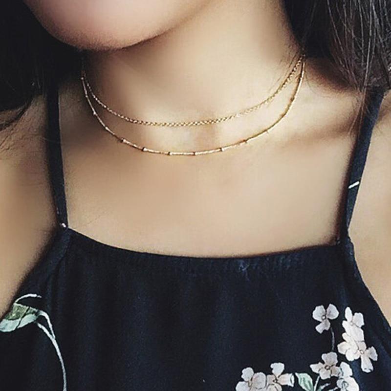 Gold Chain layered Choker Necklace Set / Gold Satellite Choker Necklace / Women Birthday Gift XL479