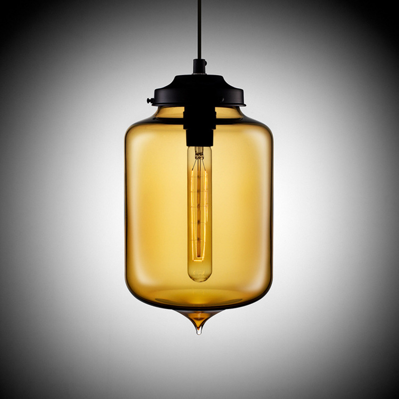 Loft Vintage Antique Industrial Colorful Glass Pendant Lights Fixtures With 6 Color Lampshade E27 For Restaurant Cafe Bar