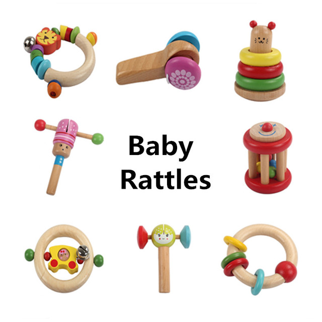 Baby Educational Toys Baby Rattles Musical Instruments Wooden Toys Infant Hearing Development Intelligence Cartoon Castanet Gift