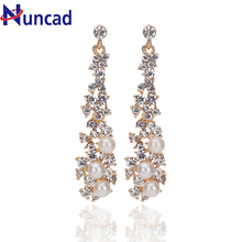 Luxury Synthetic Pearl Long Earrings White Crystal Plant Gold Color Dangle Drop Earrings for Women Wedding Jewelry NYER93