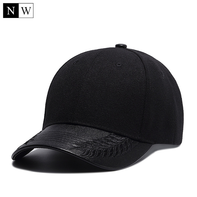 Snapback-Hat Baseball-Hats Visor-Bone Trucker Dad-Cap Solid Black High-Quality Mens PU