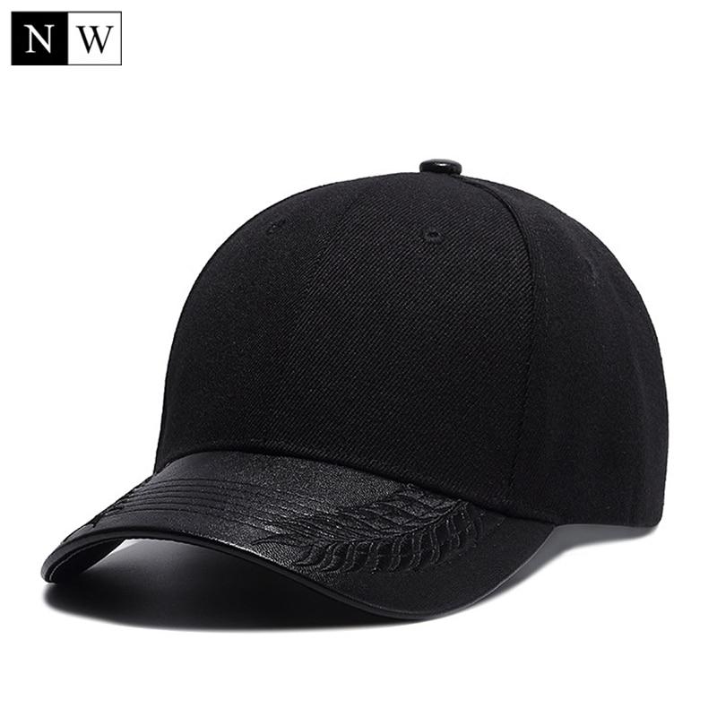 High Quality Solid Black   Baseball     Cap   Men PU Visor Bone Masculino Cool Snapback Hat Hip Hop Trucker Dad   Cap   Mens   Baseball   Hats