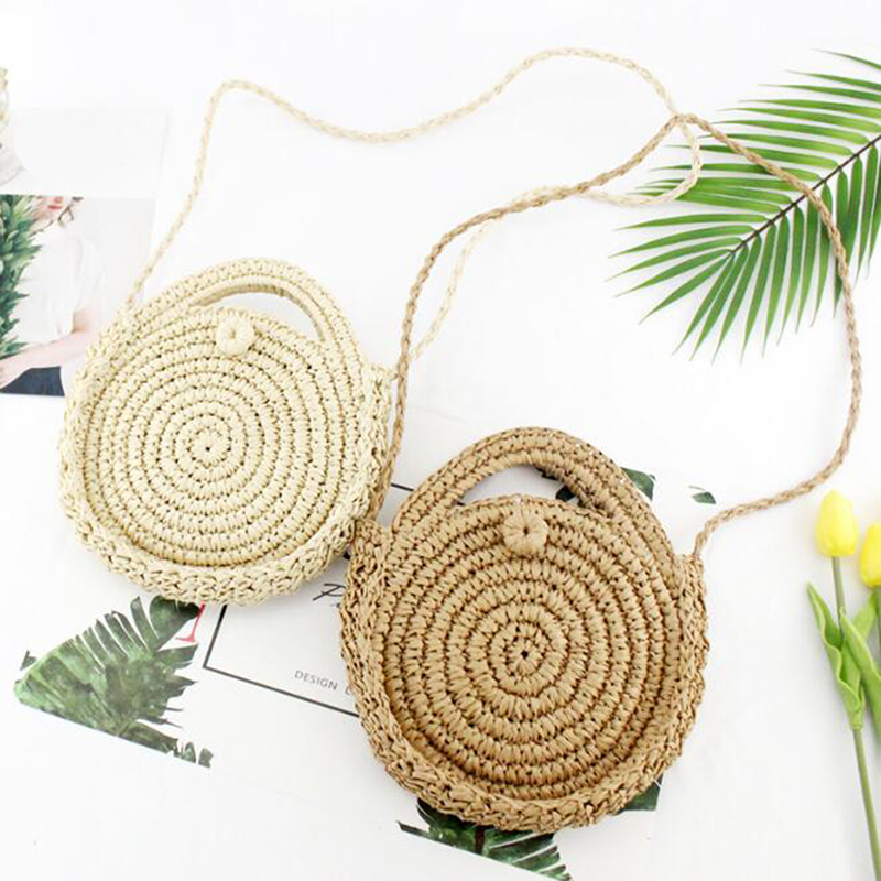 Fashion Women Woven Hand-held Round Paper Rope Bag Handmade Small Fresh Straw Bag Messenger Woven Beach Bag