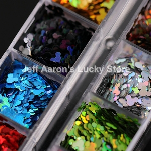 Image 3 - 12 Colors Acrylic Nail Art Glitter Sequins Decals Set For Fake Nails Tips Decoration Beauty Manicure Tools Mouse