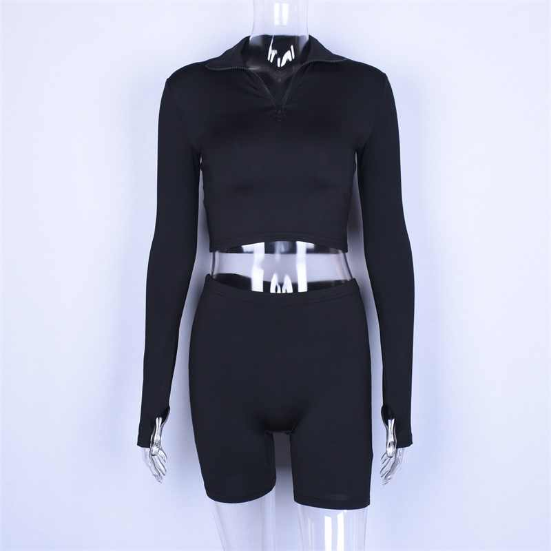 Hugcitar langarm zipper high neck elastische sexy crop tops shorts 2-stück 2018 sommer herbst frauen mode lässig sport sets