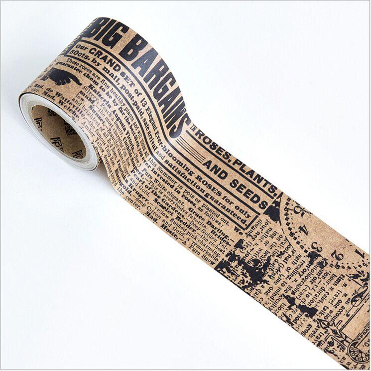 50mm Wide Vintage The London Times Literary Kraft Decorative Planner Washi Tape DIY Diary Scrapbooking Masking Tape Escolar