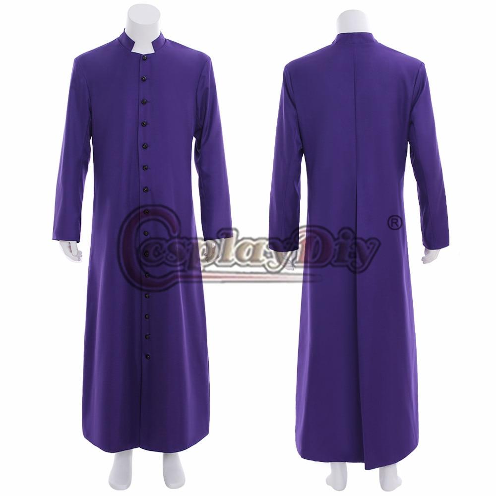Cosplaydiy Wicca Pagan Ritual Robe Clergy Cassock Roman Orthodox Long Tabard Purple Robu Coat Custom Made Any Size L320