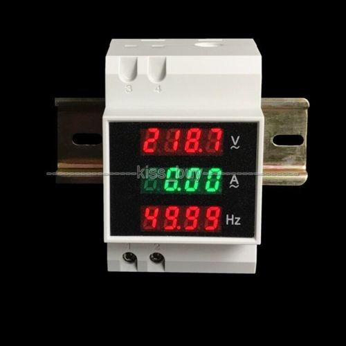 AC 220v-450v 100A 45Hz-65Hz 3Phase Din-rail Digital AC Voltmeter Ammeter Frequency Meter Voltage Current Tester 220v 240v 380v