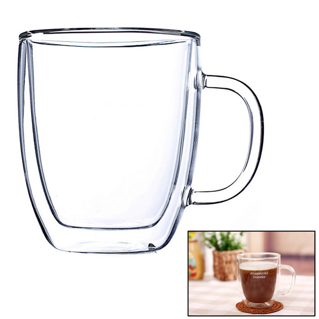 No Lid 350ml Handmade Healthy Coffee Mugs Double Wall Glass Cups Heat Resistant