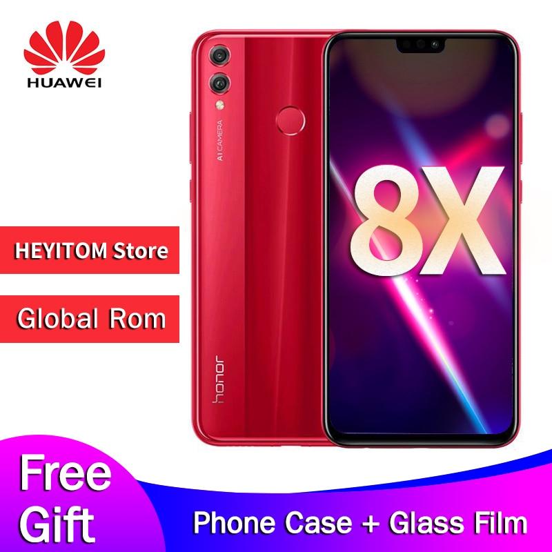 Original huawei honor 8X globais rom 6.5-polegada de tela 3750 mAh bateria dual-back 20MP câmera Android 8.2 multi -língua smartphone