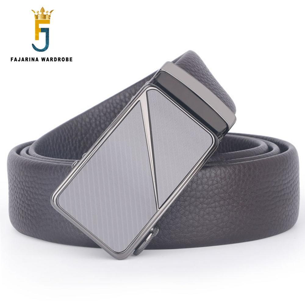 Fajarina Quality Crocodile Pattern Genuine Leather Cowhide S Letter Stainless Steel Automatic Buckle Metal Belts For Men Zdfj177 Men's Belts