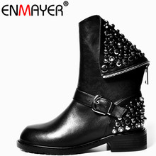 ENMAYER New Full Genuine Leather Classic Black Boots Shoes Mid-calf Boots Winter Warm Shoes Size 34-39 Motorcycle Boots Shoes