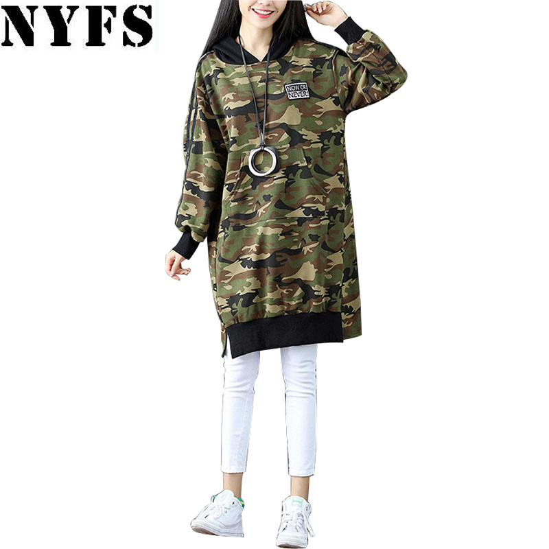 NYFS 2018 New Autumn Winter women hoodies Loose Camouflage printing pullover Hooded jacket Coat